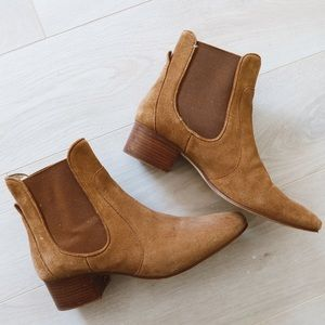 ZARA KHAKI LEATHER BOOTIES